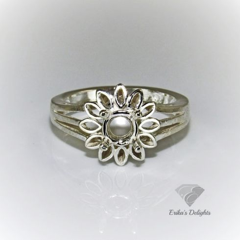 6mm Round Petal Style Pre-Notched Sterling Silver Ring Setting