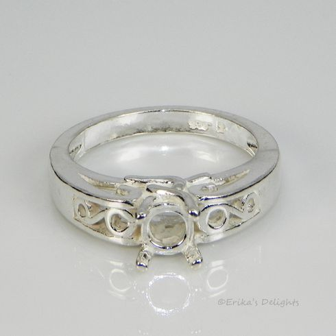 6mm Round Pre-Notched Pattern Sterling Silver Ring Setting