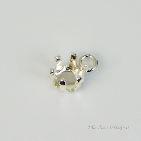 6mm Round Sterling Silver Snap Tite Dangle DROP Setting (6 prong)