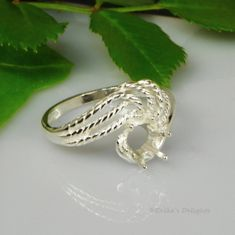 6mm Round Textured Rope Swirl Sterling Ring Setting