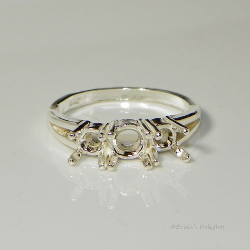 6mm Round with 5mm Accents 3 Stone Sterling Silver Pre-Notched Ring Setting