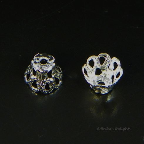 Silver Plated Flower Bell Bead Caps 6x5mm