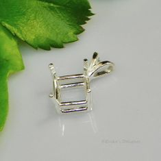 6mm Square Pre-Notched Sterling Silver Pendant Setting