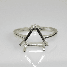 6mm Trillion Pre-Notched Sterling Silver Ring Setting (6 Prong)