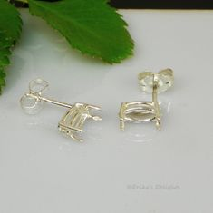 6x3 Marquise Pre-Notched Basket Sterling Silver Earring Settings