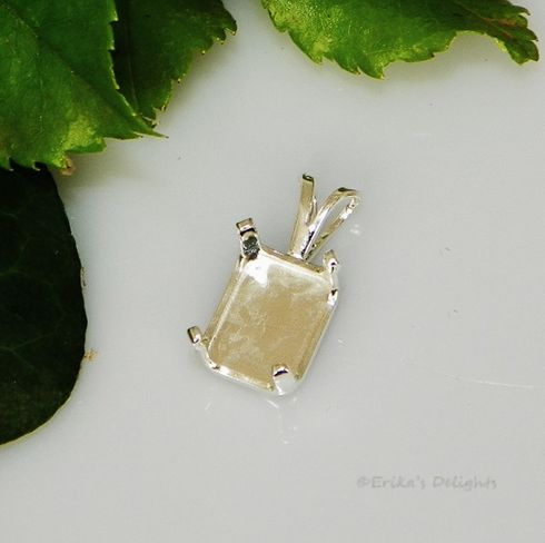 6x4 EMERALD snap tite sterling silver pendant 4prong