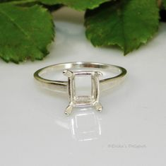 6x4 Emerald Solitaire Sterling Silver Ring Setting