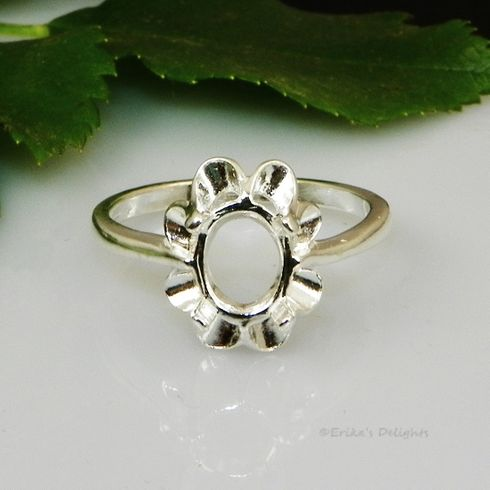 6x4 Oval Crown Style Sterling Silver Pre-Notched Ring Setting