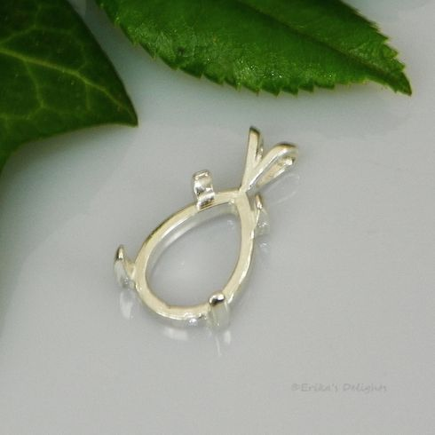 6x4 Pear Cab (Cabochon) Sterling Silver Pendant Setting