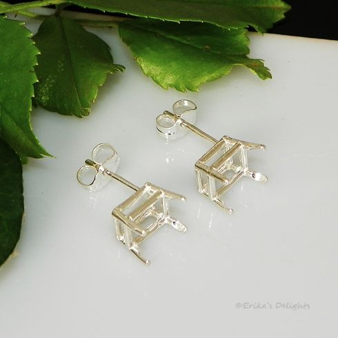 6x5 Emerald Pre-Notched Basket Sterling Silver Earring Settings