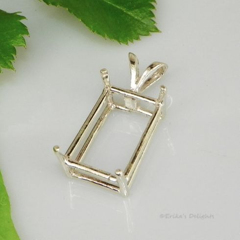 6x5 Emerald Pre-Notched Sterling Silver Pendant Setting (4 Prong)