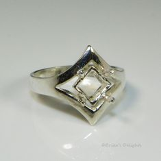 7mm Fancy Square Pre-notched Sterling Silver Ring Setting