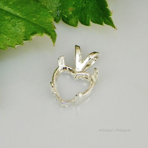 7mm Heart Cab (Cabochon) Sterling Silver Pendant Setting