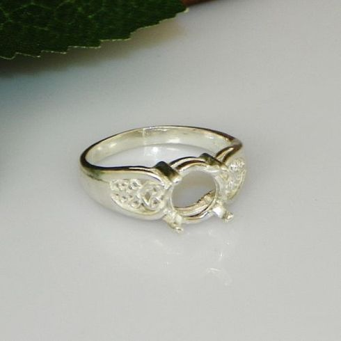 7mm Round Cab Filigree Shank Sterling Silver Ring Setting