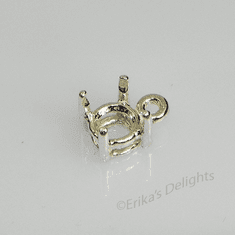 7mm Round Pre-notched Dangle Sterling Silver Setting