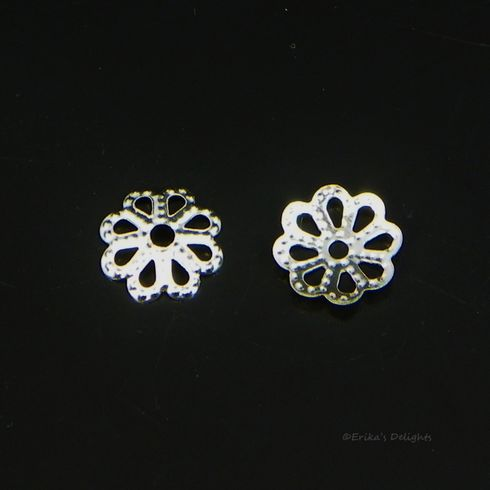 7mm Silver Plated Flower Bead Caps