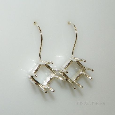 7mm Square 8 Prong Sterling Silver Pre-Notched Earwire Earring Settings