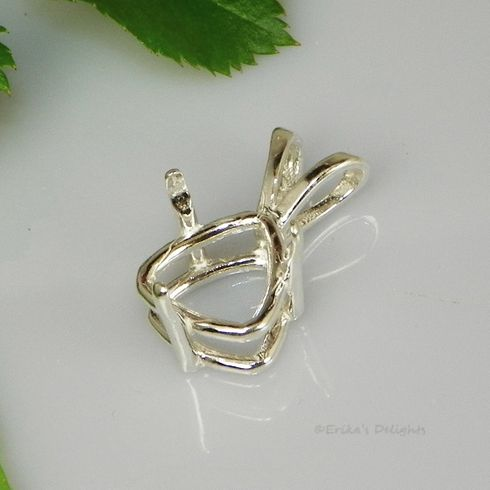 7mm Trillion 3 Prong Deep Sterling Silver Pendant Setting