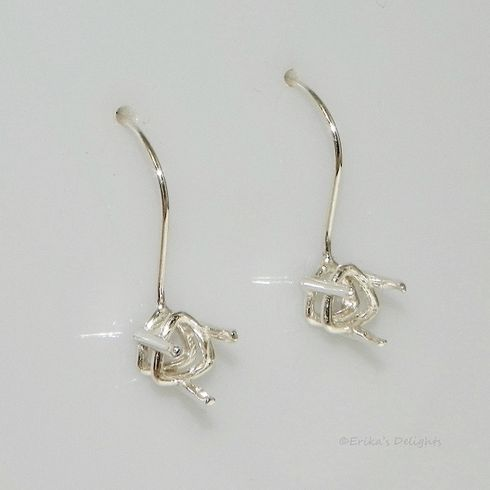 7mm Trillion Deep 3 Prong Earwire Pre-Notched Sterling Silver Earring Settings