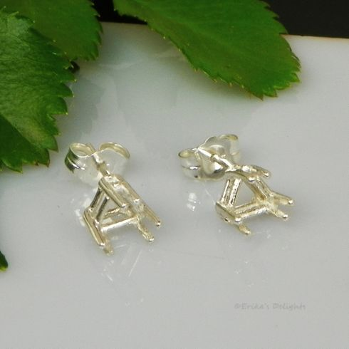 7mm Trillion Pre-Notched Basket Sterling Silver Earring Settings