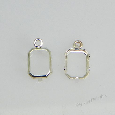 7x5 emerald sterling silver low wall backset drop 1pc