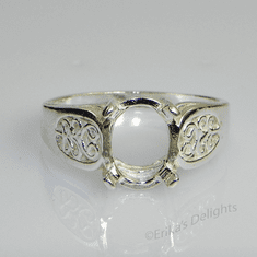 7x5 Oval Cab Filigree Shank Sterling Silver Ring Setting
