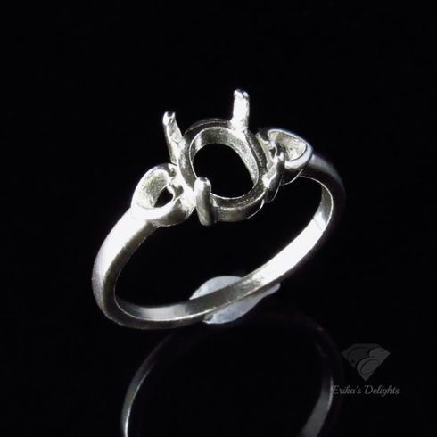 7x5 Oval Heart Shank Sterling Silver Pre-Notched Ring Setting