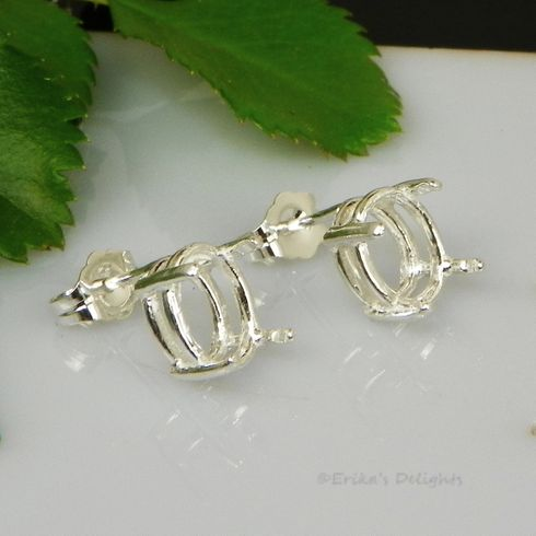 7x5 Oval Pre-Notched Basket Sterling Silver Earring Settings