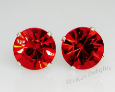 8mm Crystal Light Siam Red Sterling Silver Earrings using Swarovski Elements
