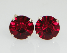 8mm Crystal Siam Red Sterling Silver Earrings using Swarovski Elements