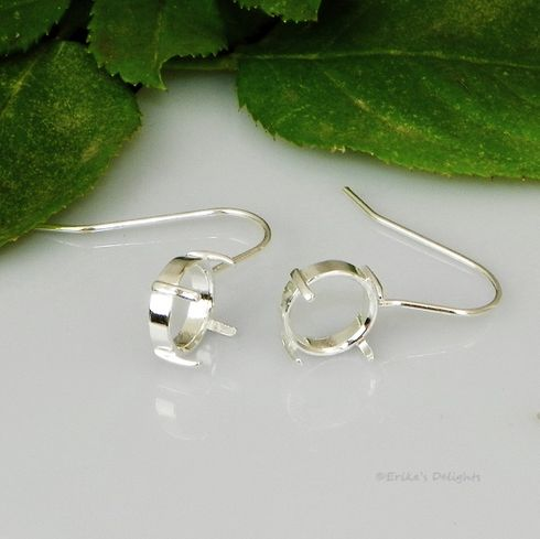 8mm Round Cabochon (Cab) Earwire Sterling Silver Earring Settings