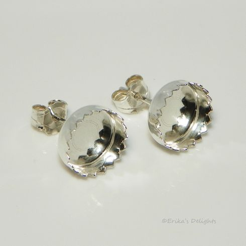 8mm Round Fancy Cabochon (Cab) Sterling Silver Earring Settings