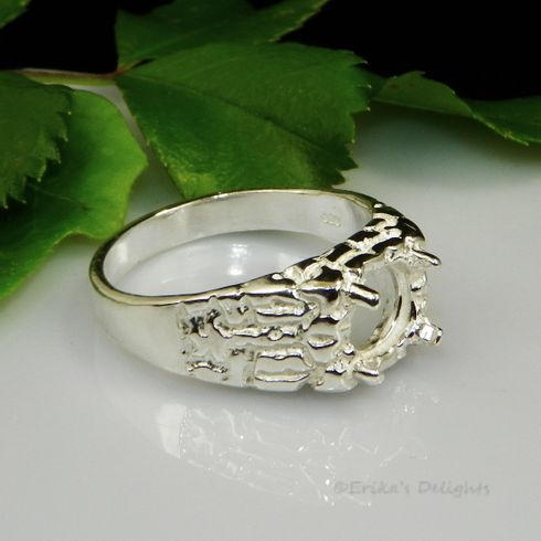 8mm Round Mens Light Textured Sterling Silver Ring Setting