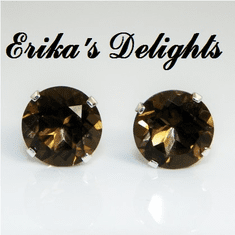 8mm Round Natural Smokey Quartz Sterling Earrings