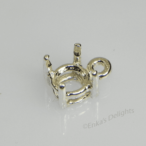 8mm Round Pre-notched Dangle Sterling Silver Setting