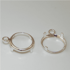 8mm round sterling silver low wall backset drop 1pc