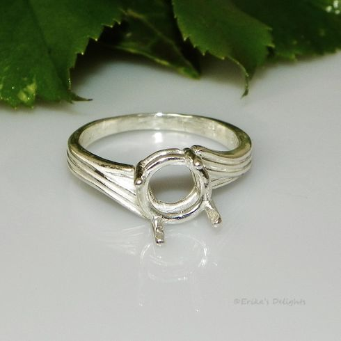 8mm Round Swirl Offset Sterling Silver Pre-Notched Ring Setting