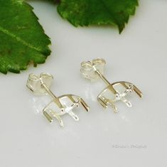 8x4 marquise snap tite sterling silver earring settings