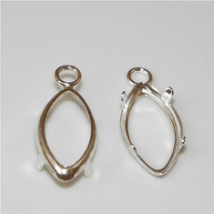 8x4 marquise sterling silver low wall backset drop 1pc