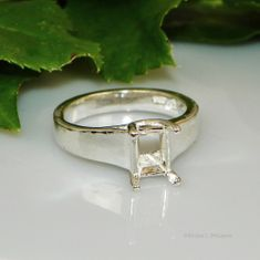 8x6 Emerald Comfort Fit Solitaire Sterling Silver Ring Setting