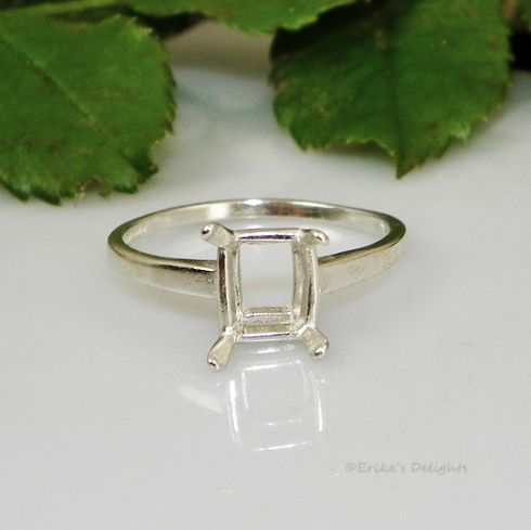 8x6 Emerald Solitaire Sterling Silver Ring Setting