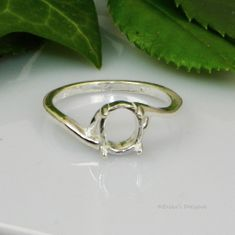 8x6 oval Cabochon (Cab) Sterling Silver Pre-Notched RING Setting