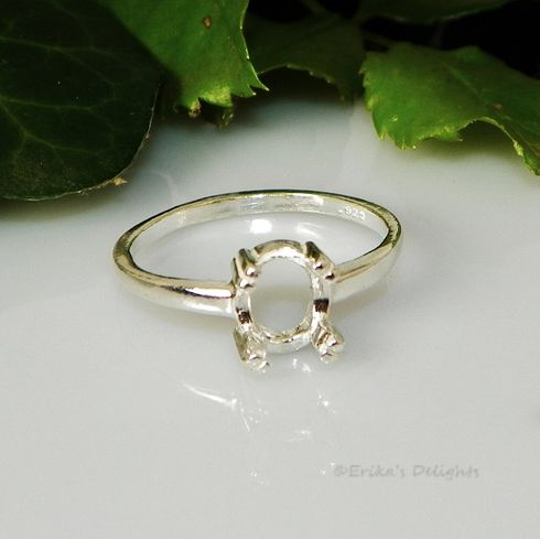 8x6 Oval Claw Prong Sterling Silver Pre-Notched Ring Setting