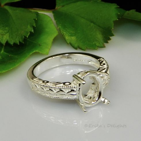 8x6 Oval Engraved Shank  Sterling Silver Ring Setting