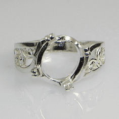 8x6 Oval Fancy Offset Sterling Silver Ring Setting