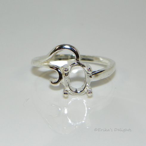 8x6 Oval Fancy Style Sterling Silver Pre-Notched Ring Setting