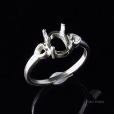 8x6 Oval Heart Shank Sterling Silver Pre-Notched Ring Setting