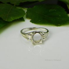 8x6 Oval Leaf Sterling Silver Pre-Notched Ring Setting