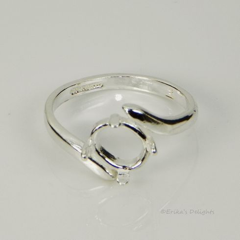 8x6 Oval Low Profile Sterling Silver Ring Setting