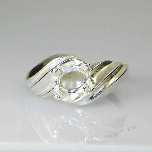 8x6 Oval Side Set Swirl Sterling Silver Ring Setting